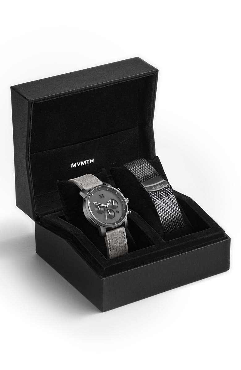 MVMT The Chrono Chronograph Leather Strap Watch & Mesh Strap Set, 40mm, Main, color, 040