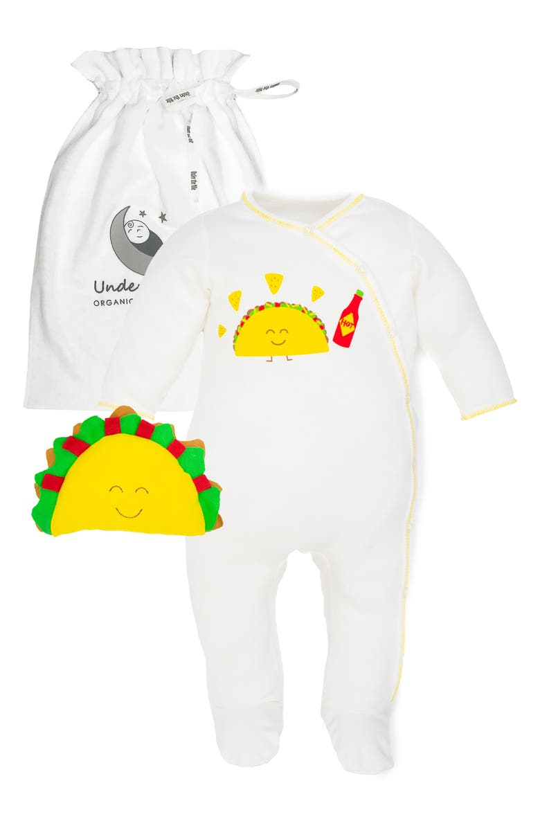 UNDER THE NILE 2-Piece Taco Organic Egyptian Cotton Footie & Toy Gift Set, Main, color, MULTICOLOR