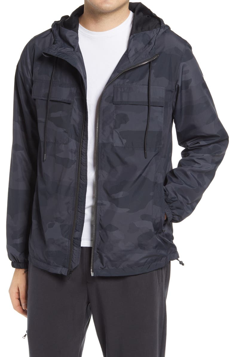 ALO Stride Camo Hooded Jacket, Main, color, BLACK CAMO