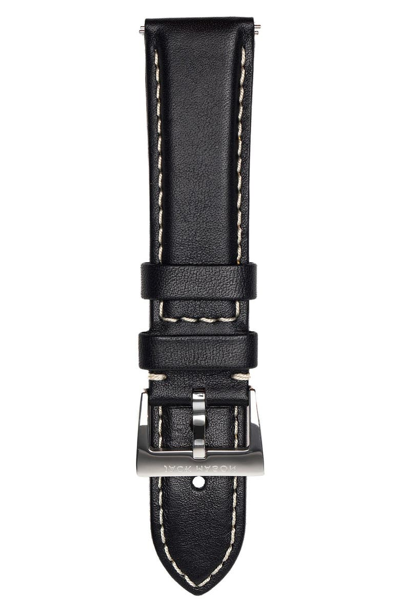 JACK MASON Leather Strap, 22mm, Main, color, 001