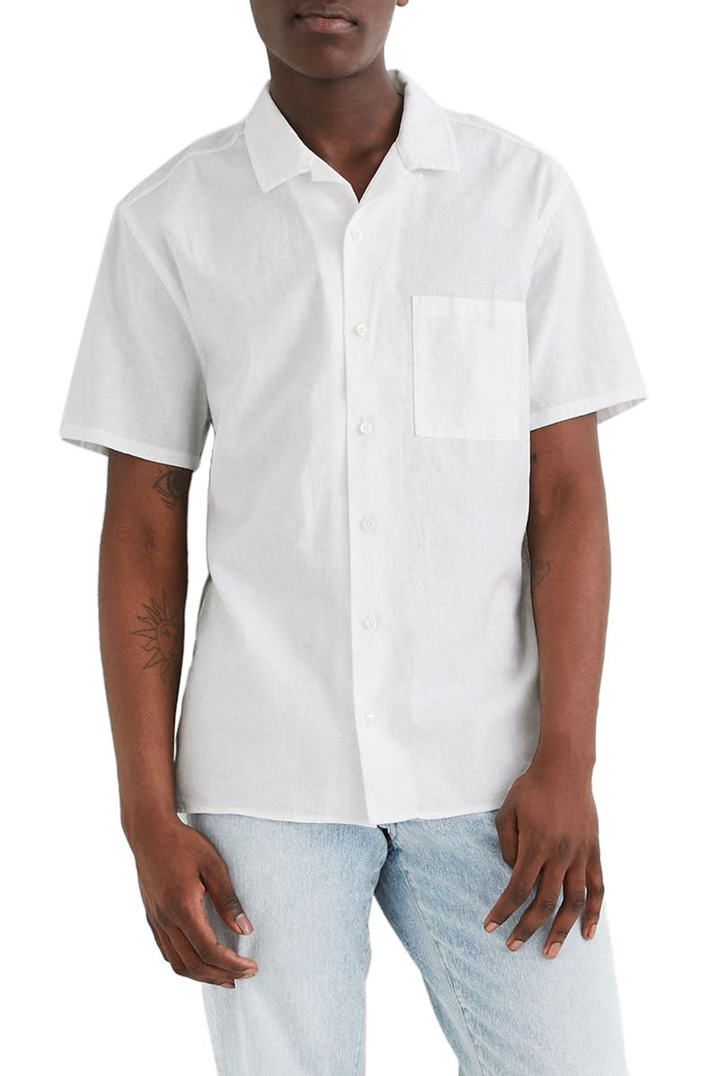MADEWELL Linen & Cotton Easy Camp Shirt, Main, color, EYELET WHITE