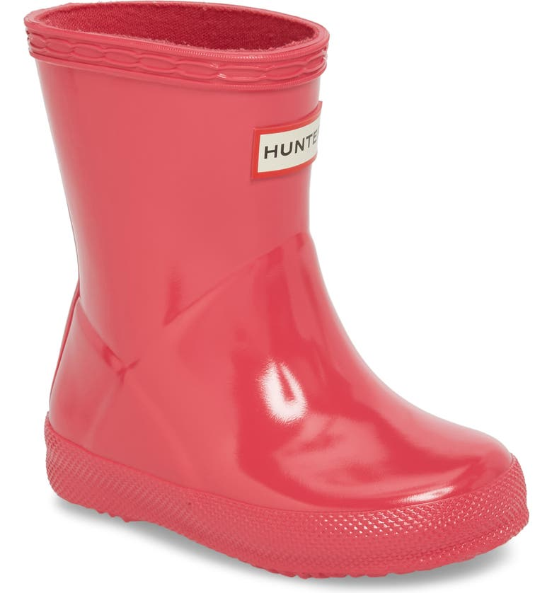 HUNTER 'First Gloss' Rain Boot, Main, color, BRIGHT PINK
