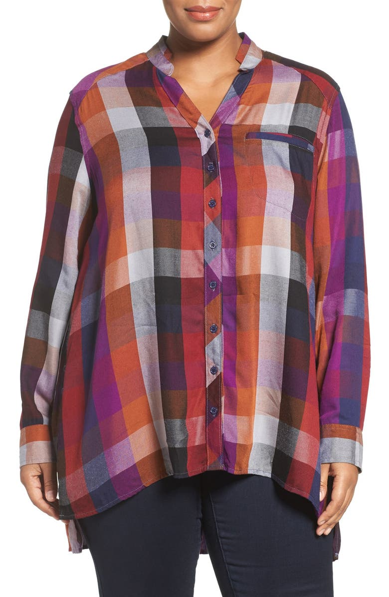 MELISSA MCCARTHY SEVEN7 Plaid Flannel Shirt, Main, color, 629