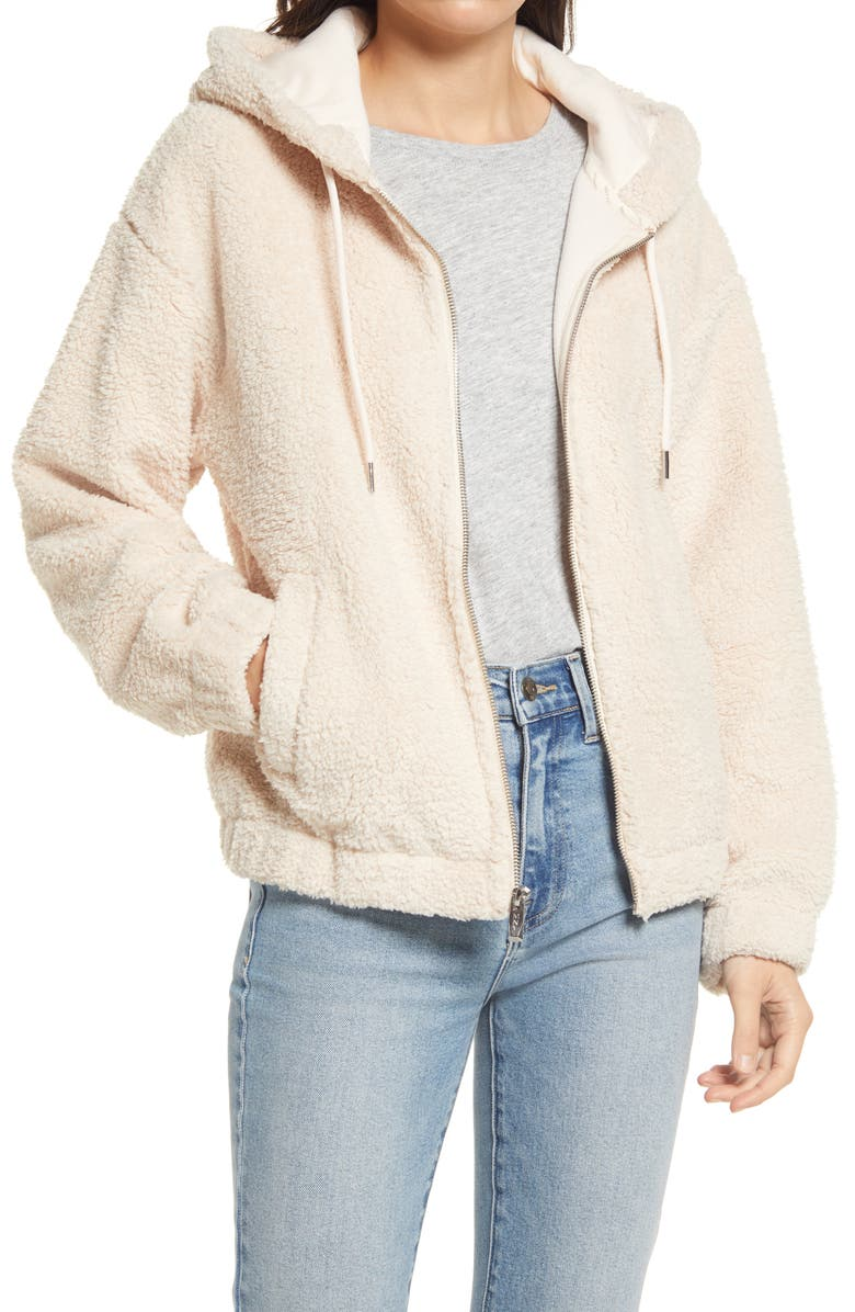 MARC NEW YORK Faux Shearling Hoodie, Main, color, 128