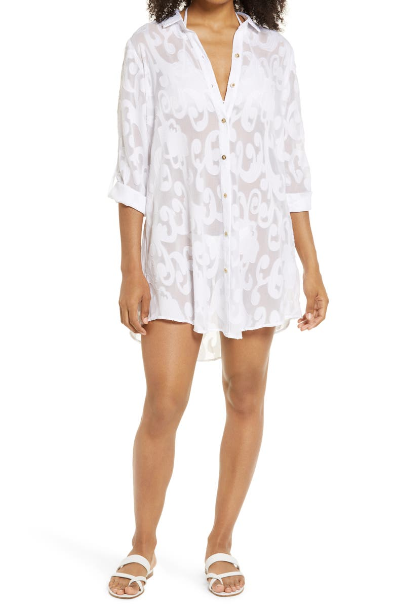 LILLY PULITZER<SUP>®</SUP> Natalie Cover-Up Shirtdress, Main, color, RESORT WHITE