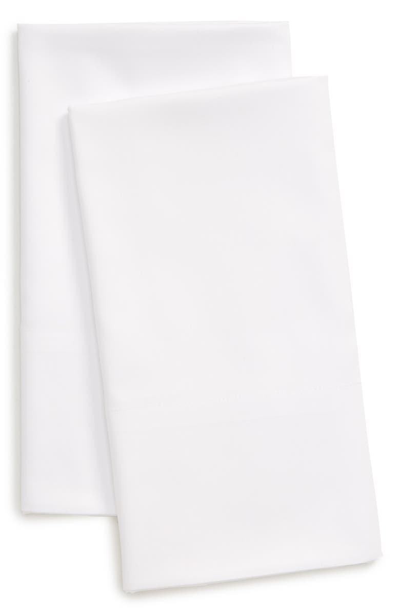 NORDSTROM 300 Thread Count Set of 2 Cotton & Tencel<sup>®</sup> Lyocell Pillowcases, Main, color, WHITE