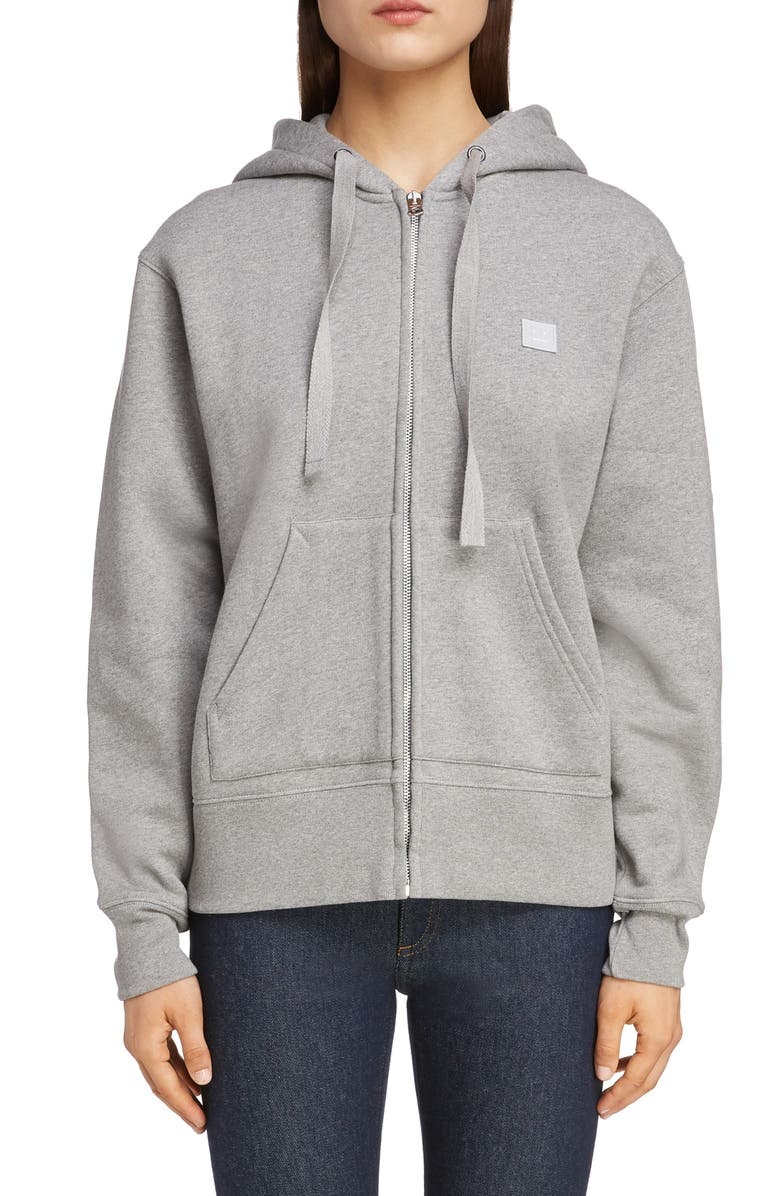 ACNE STUDIOS Ferris Face Patch Unisex Zip Hoodie, Main, color, LIGHT GREY MELANGE