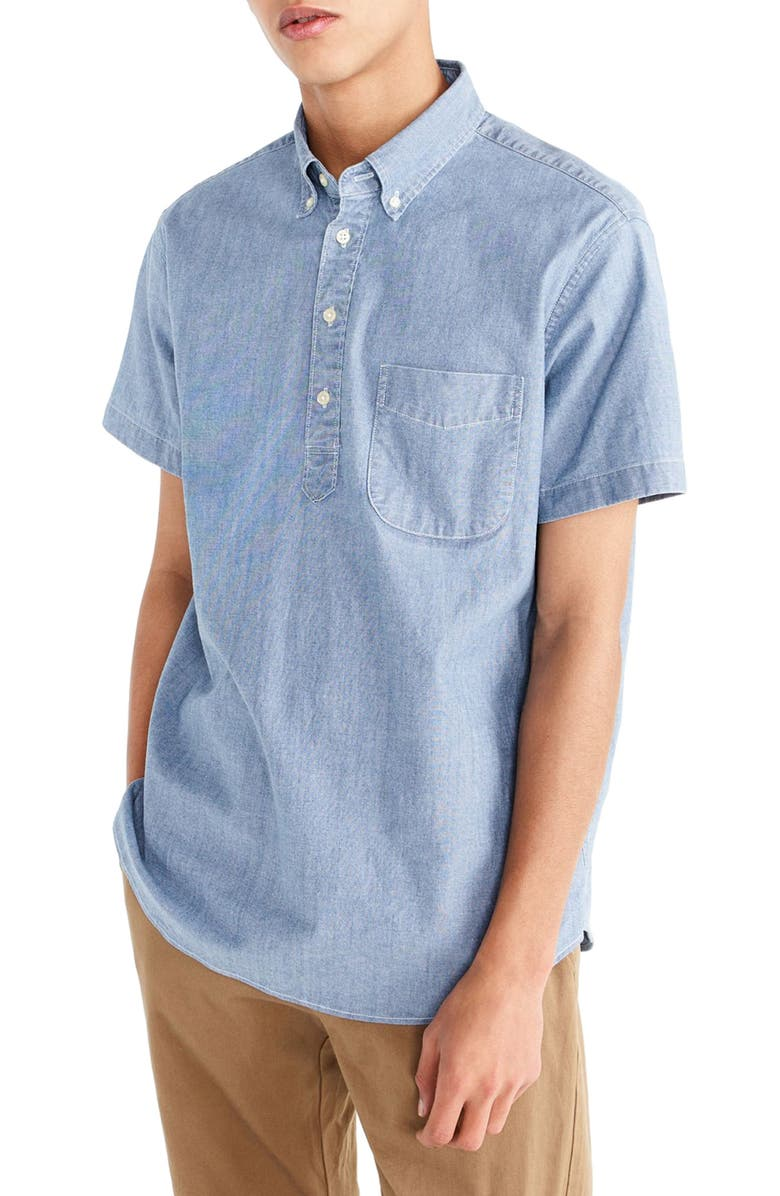 J.CREW Short Sleeve Stretch Chambray Popover Shirt, Main, color, 400