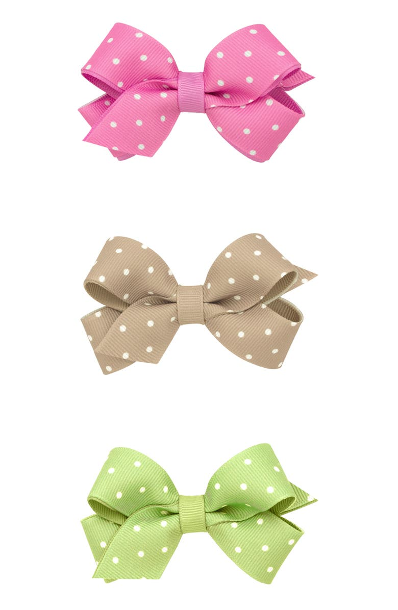 PLH BOWS 3-Pack Tiny Dot Bow Hair Clips, Main, color, 230