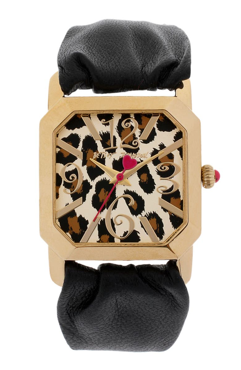 BETSEY JOHNSON Square Dial Leather Strap Watch, Main, color, Black