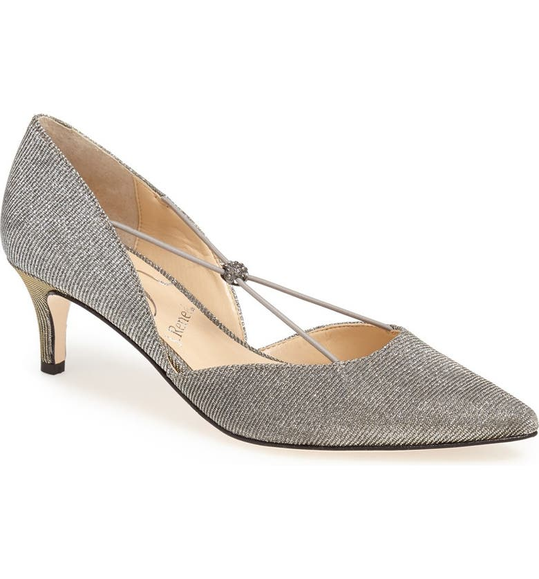 J. RENEÉ 'Veeva' Pump, Main, color, PEWTER GLITTER FABRIC