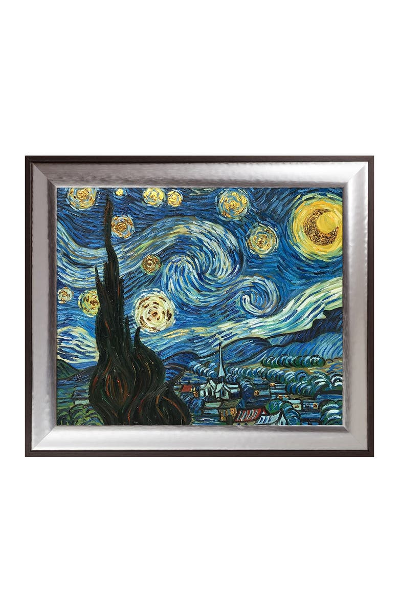 """OVERSTOCK ART Starry Night (Luxury Line) by Vincent Van Gogh Framed Hand Painted Oil Reproduction - 30"""" x 26"""", Main, color, MULTI"""