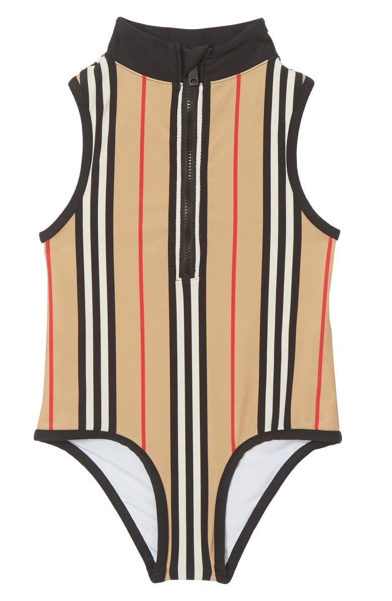 BURBERRY Siera One-Piece Zip Swimsuit, Main, color, ARCHIVE BEIGE