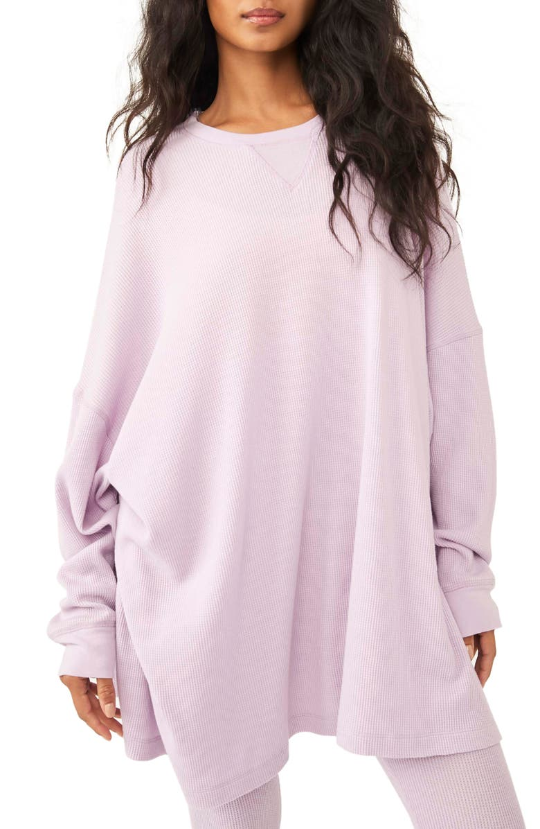FREE PEOPLE Early Night Cotton Thermal Top, Main, color, LILAC