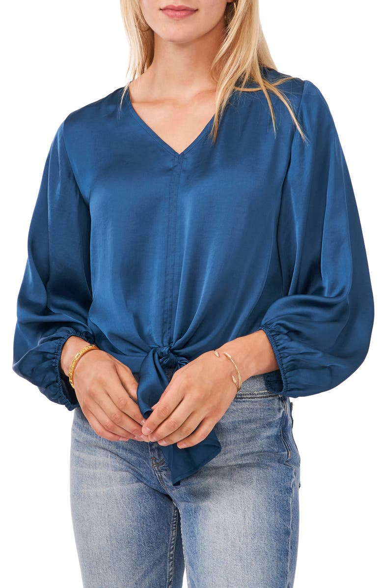 VINCE CAMUTO Tie Front Top, Main, color, PEACOCK BLUE