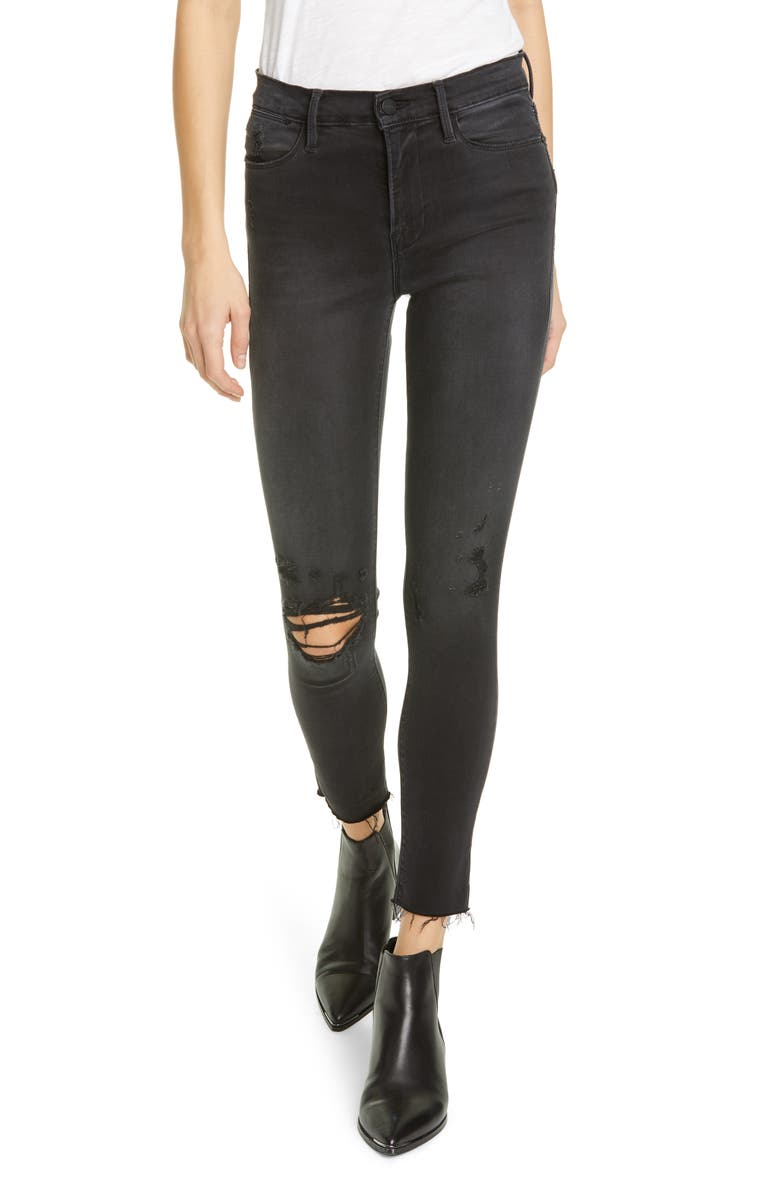 FRAME Le High Ripped Raw Hem Crop Skinny Jeans, Main, color, BRISBANE RIPS