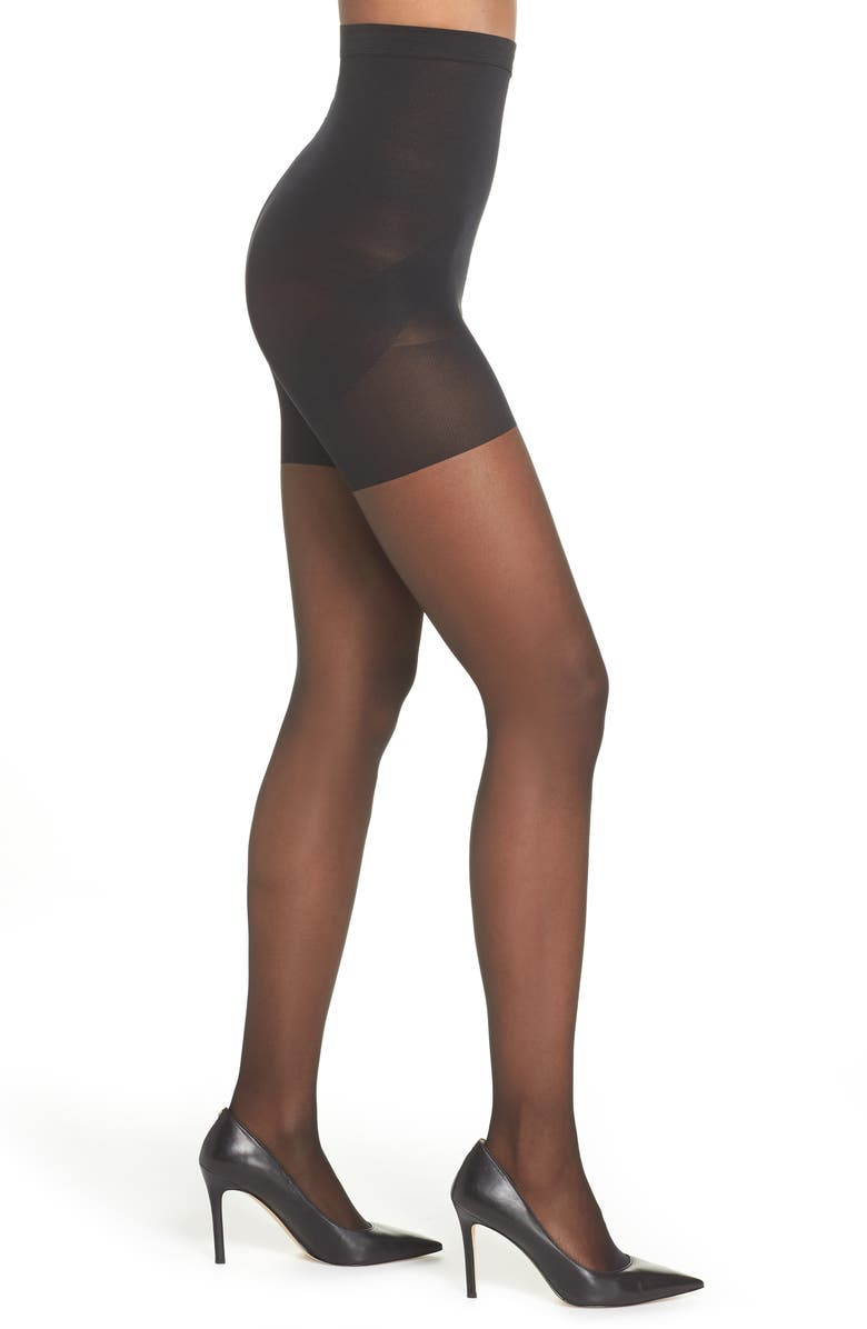 NORDSTROM Naked Sheer Control Top High Waist Pantyhose, Main, color, 001