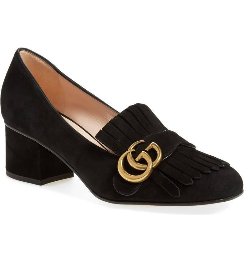 GUCCI GG Kiltie Fringe Pump, Main, color, BLACK SUEDE
