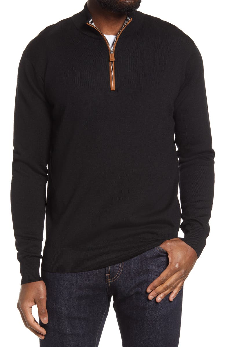 PETER MILLAR Crown Regular Fit Quarter Zip Pullover, Main, color, BLACK