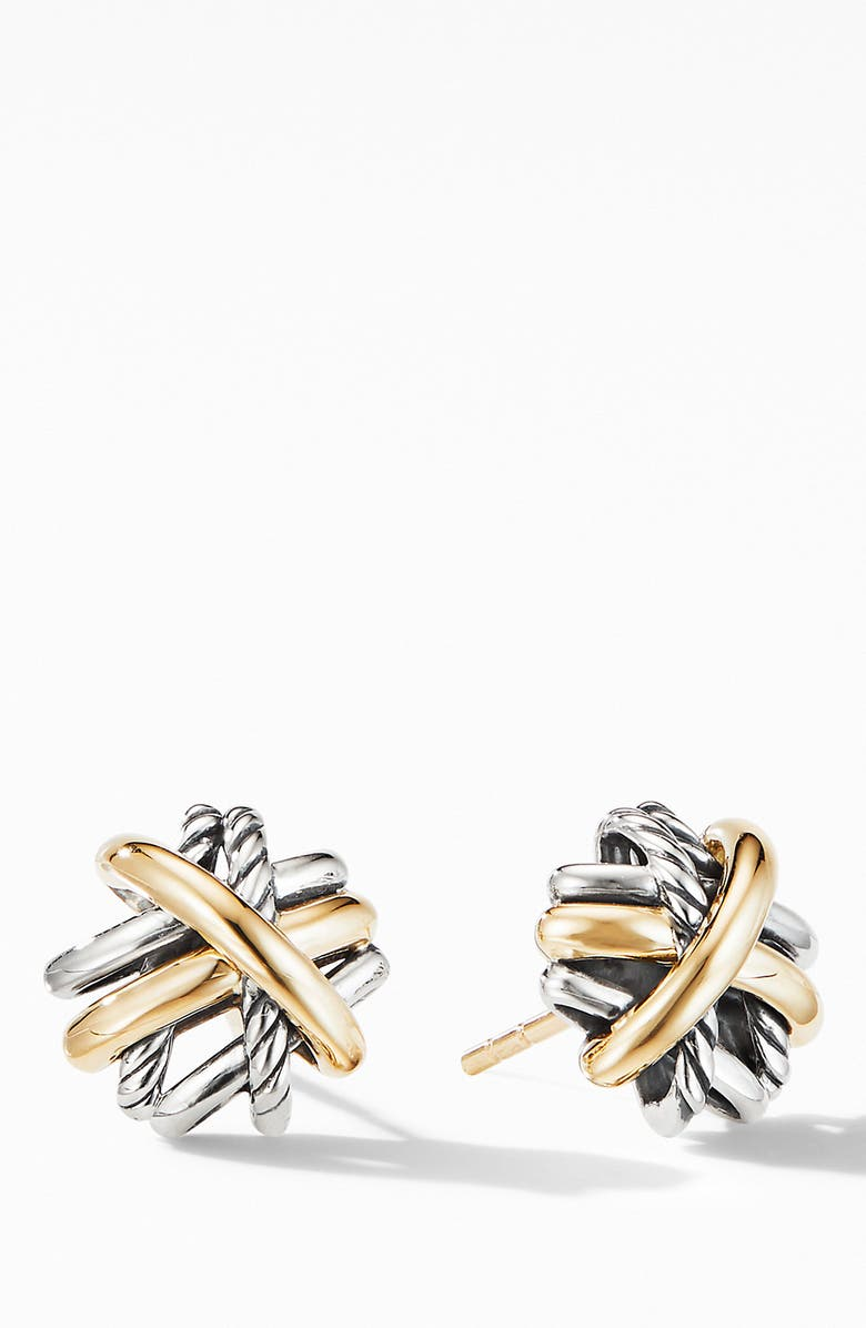 DAVID YURMAN Crossover Stud Earrings with 18K Yellow Gold, Main, color, SILVER/ GOLD
