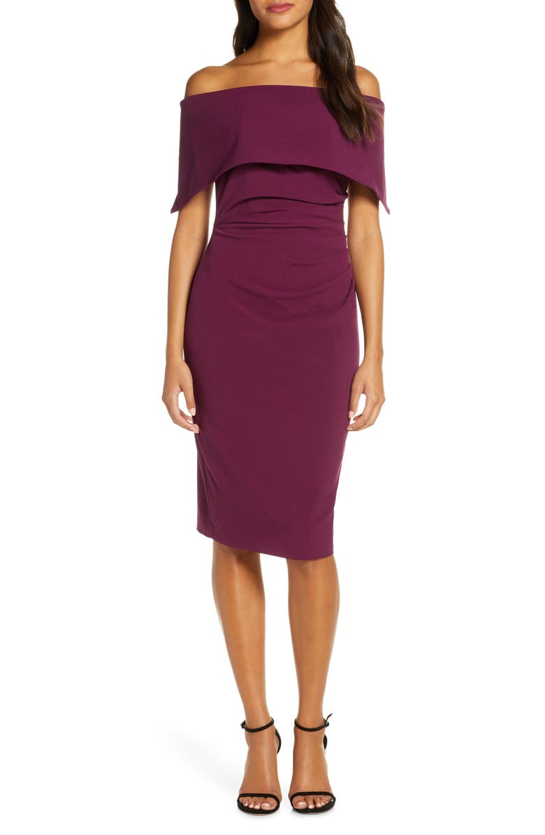 VINCE CAMUTO Popover Cocktail Dress, Main, color, WINE