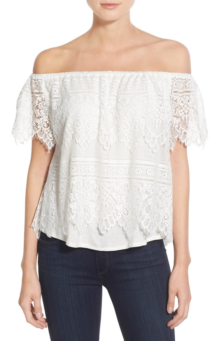 CUPCAKES AND CASHMERE 'Sunset Lace' Off the Shoulder Top, Main, color, 900