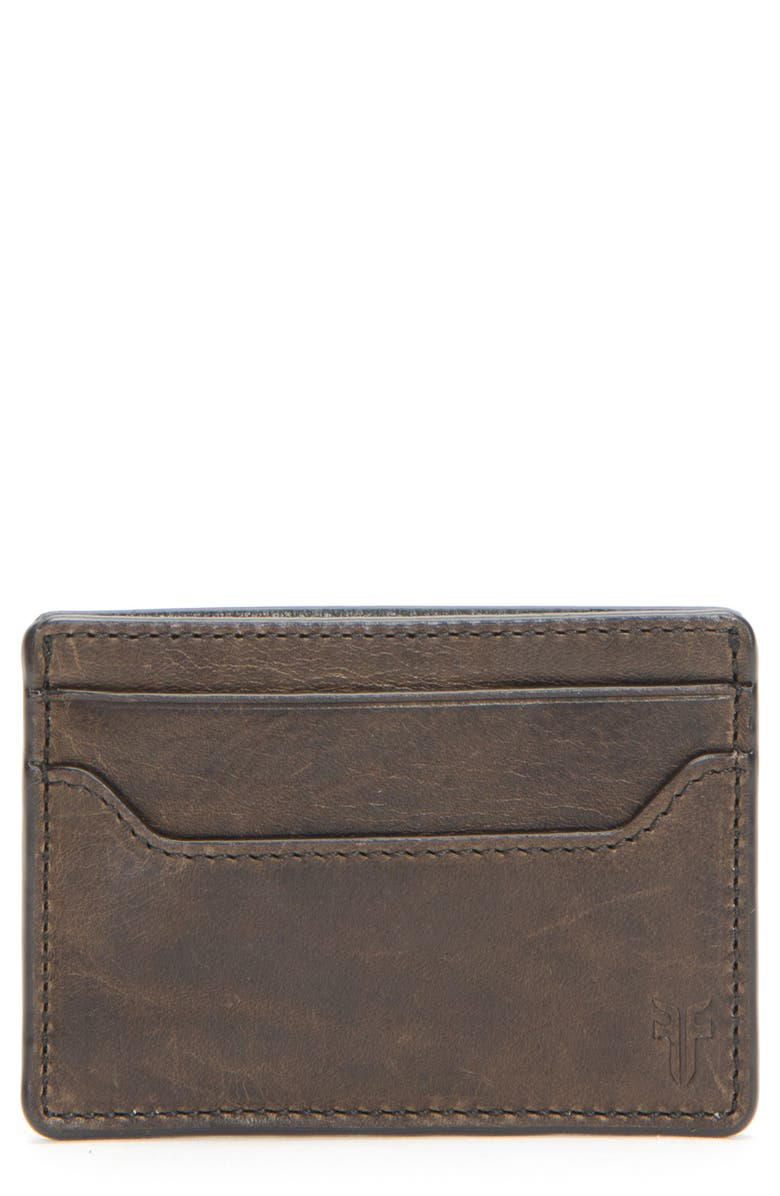 FRYE Logan Leather Money Clip Card Case, Main, color, GREY