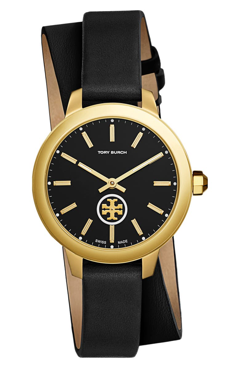 TORY BURCH Collins Double Wrap Leather Strap Watch, 38mm, Main, color, 001
