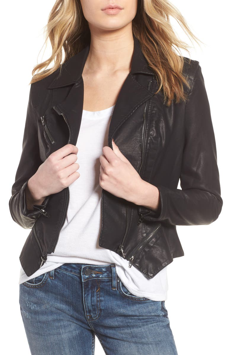 BLANKNYC Faux Leather Moto Jacket, Main, color, 001