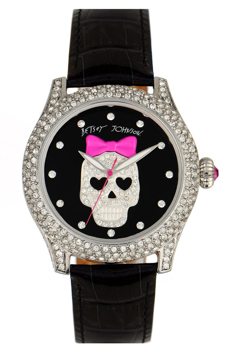 BETSEY JOHNSON 'Bling Bling Time' Skull Dial Leather Strap Watch, Main, color, 001