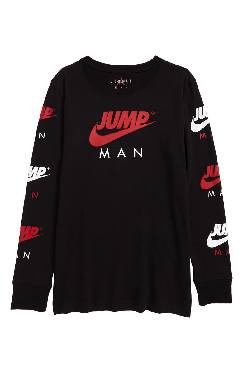 NIKE Kids' Jumpman Triple Threat Graphic Long Sleeve T-Shirt, Main, color, TRENCHED