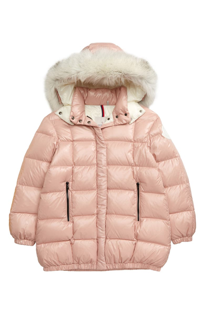 MONCLER Parana Quilted Hooded Down Jacket with Genuine Fox Fur Trim, Main, color, LIGHT PINK