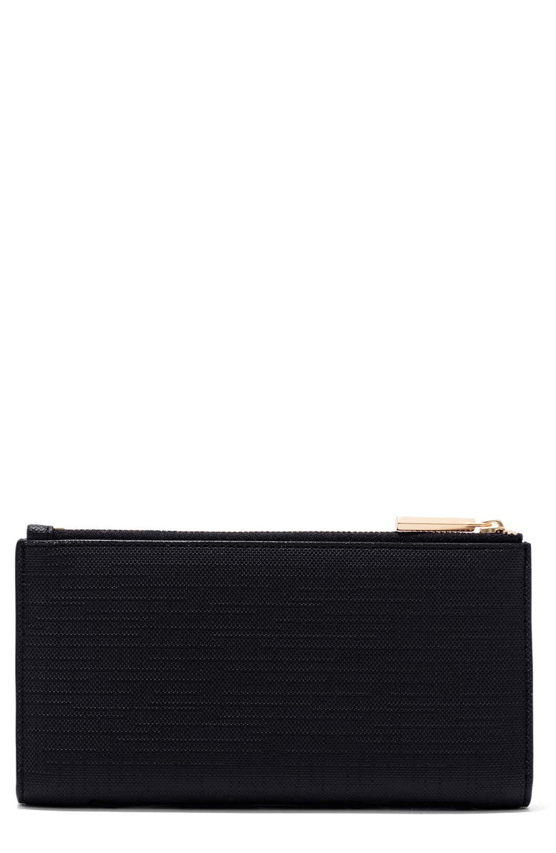 DAGNE DOVER Signature Slim Coated Canvas Wallet, Main, color, ONYX