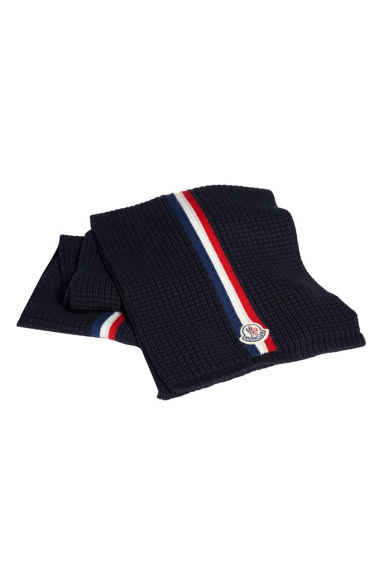 MONCLER Stripe Wool Scarf, Main, color, NAVY