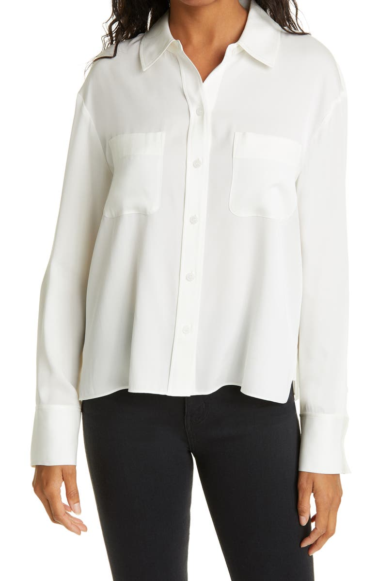 NORDSTROM SIGNATURE Silk Button-Up Blouse, Main, color, IVORY CLOUD