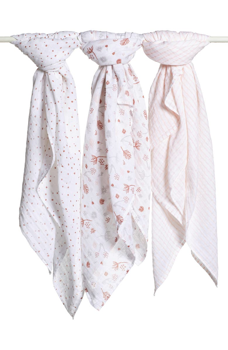 NORDSTROM Baby 3-Pack Muslin Swaddles, Main, color, FLORAL PACK
