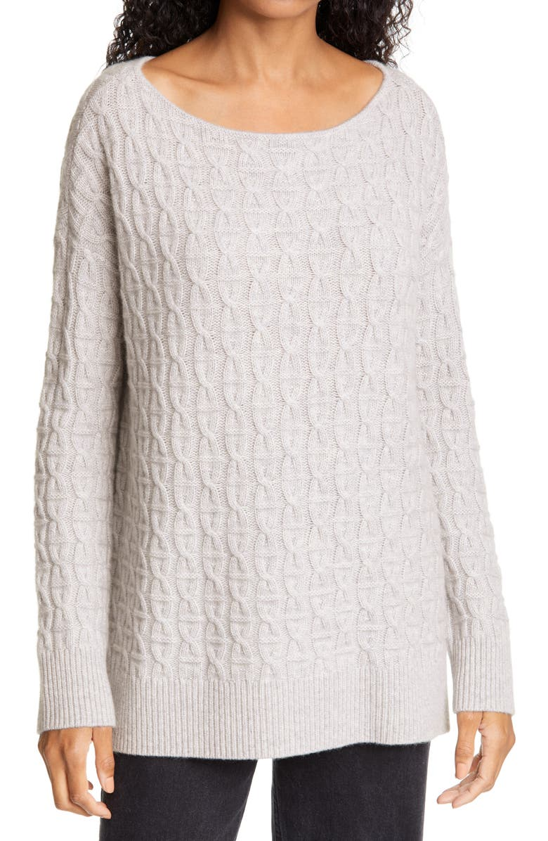 NORDSTROM SIGNATURE Boat Neck Cable Cashmere Sweater, Main, color, GREY LIGHT HEATHER