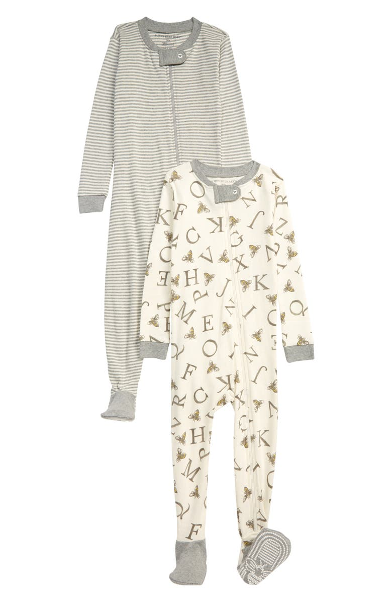 BURT'S BEES BABY 2-Pack Organic Cotton Fitted One-Piece Pajamas, Main, color, EGGSHELL