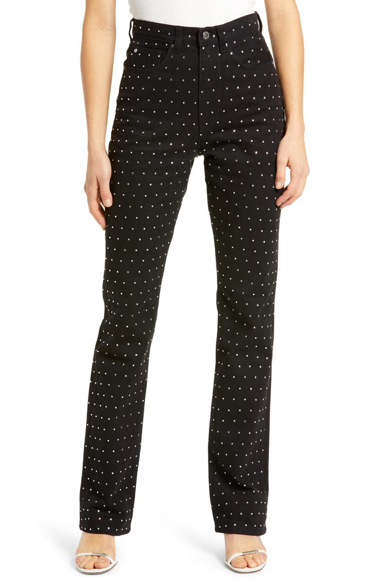 WE WORE WHAT Baby Bootcut Crystal Jeans, Main, color, BLACK