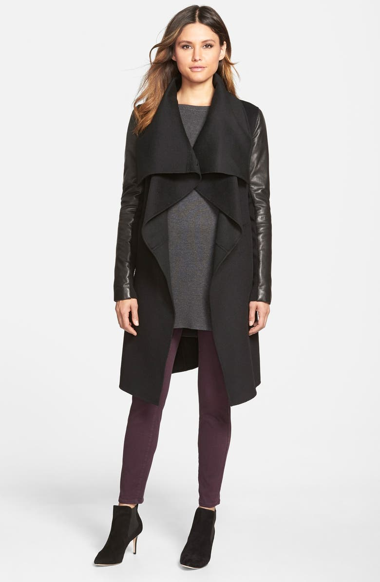 MACKAGE Wool Blend Coat with Leather Sleeves, Main, color, Black