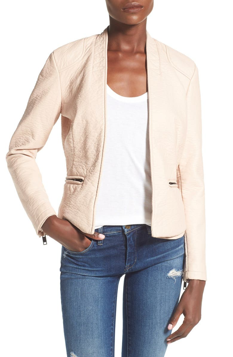 BLANKNYC Faux Leather Open Front Jacket, Main, color, 660