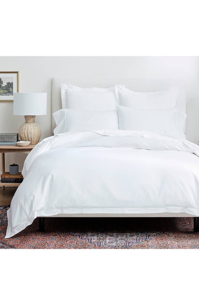 BOLL & BRANCH Classic Hemmed Duvet Cover & Shams Set, Main, color, WHITE
