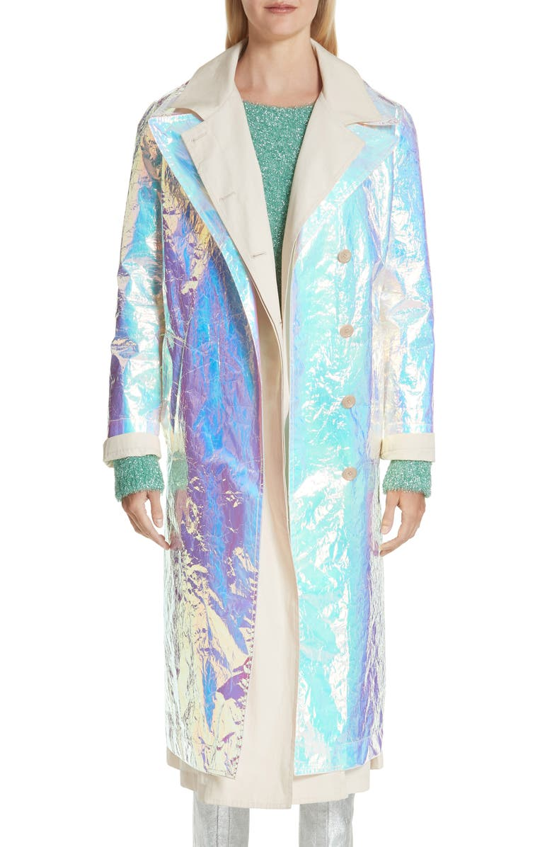 SIES MARJAN Devin Iridescent Layered Trench Coat, Main, color, 041