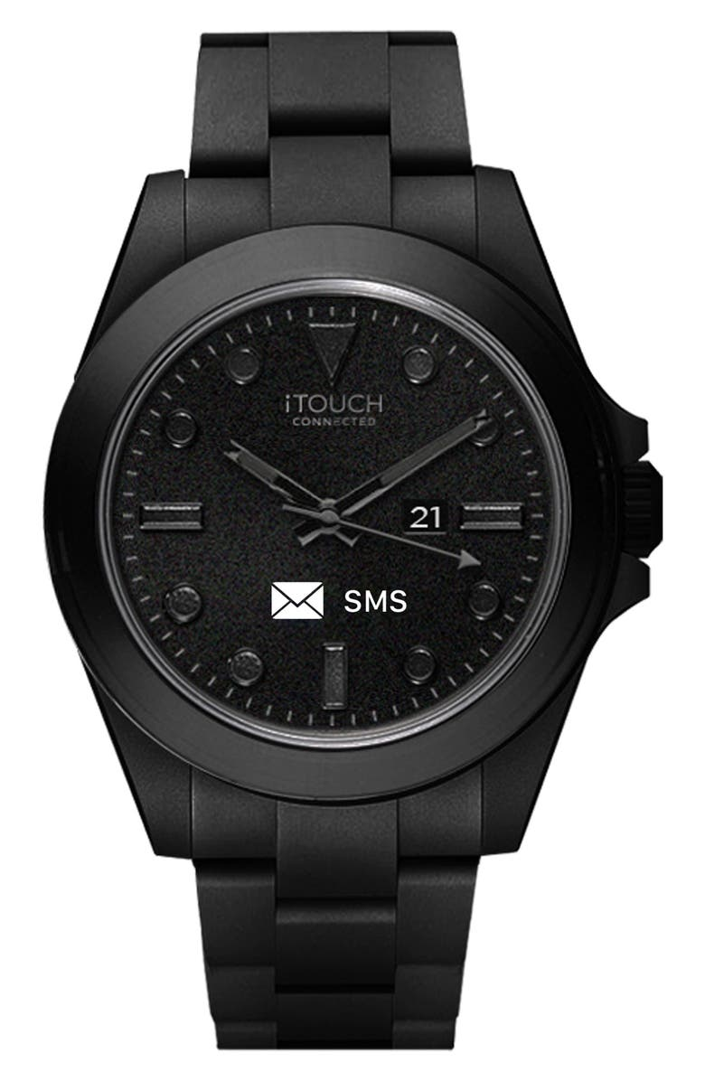 I TOUCH Men's Connected Hybrid Smartwatch Fitness Tracker, 42mm, Main, color, BLACK/BLACK