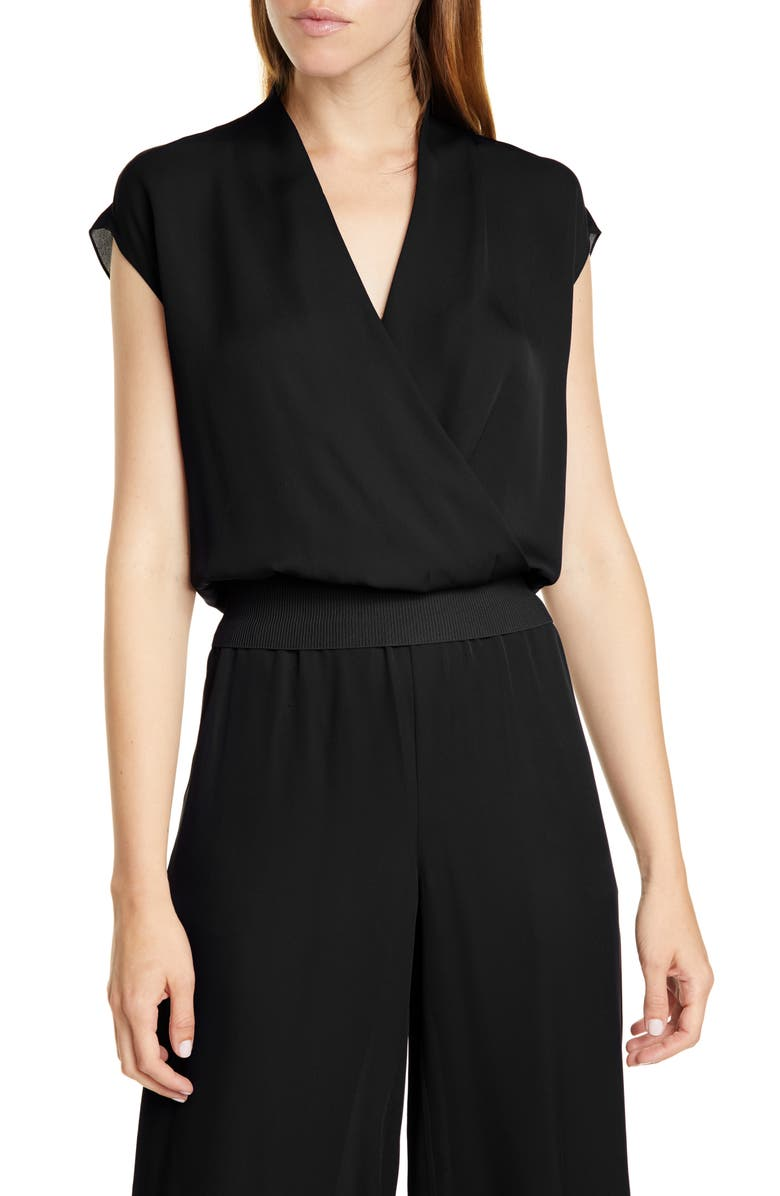 THEORY Silk Wrap Top, Main, color, 001