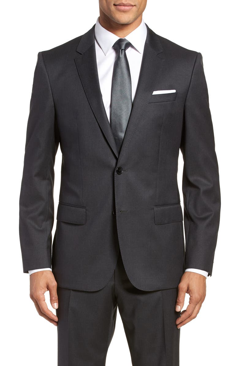 BOSS Hayes CYL Slim Fit Solid Wool Sport Coat, Main, color, DARK GREY