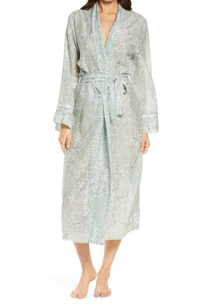 PAPINELLE Cherry Blossom Cotton & Silk Robe, Main, color, SAGE
