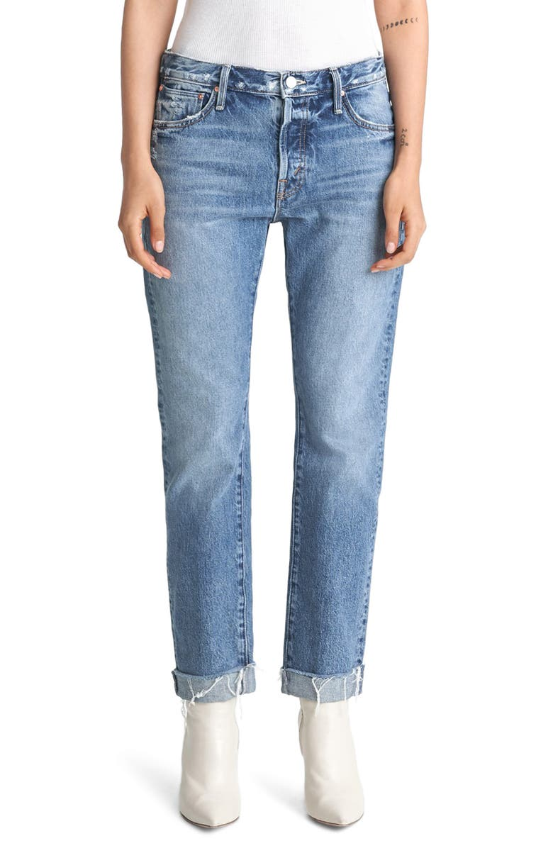 MOTHER The Scrapper High Waist Frayed Cuff Ankle Jeans, Main, color, 420