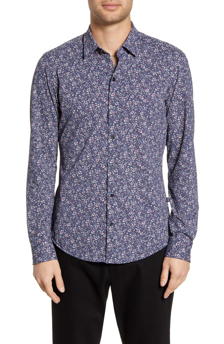 BOSS Robbie Sharp Fit Floral Print Stretch Button-Up Sport Shirt, Main, color, 001