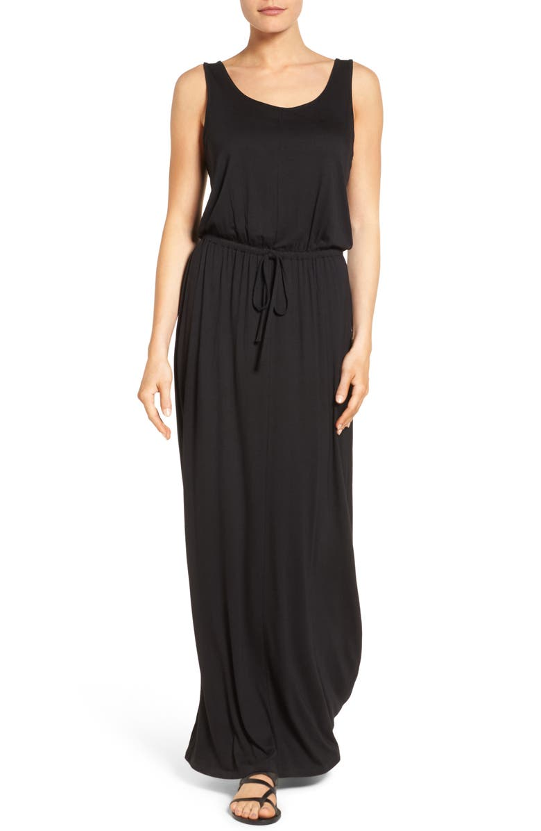 CASLON<SUP>®</SUP> Drawstring Waist Maxi Dress, Main, color, 001